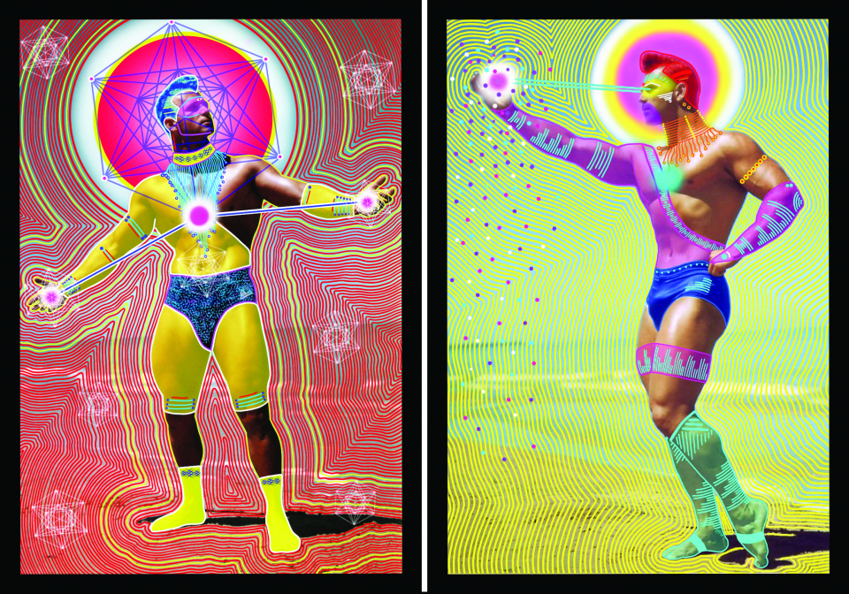 Lot #6<br/>Cosmic Warrior Tag-Team (set of two prints)  ~  Michael Watts